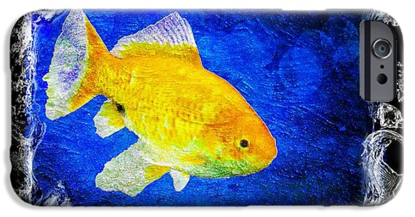 Goldfish Mixed Media iPhone Cases - Something Fishy iPhone Case by Aaron Berg