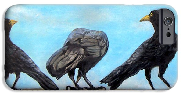 Young Paintings iPhone Cases - Something to Crow About iPhone Case by Janet  Sheen