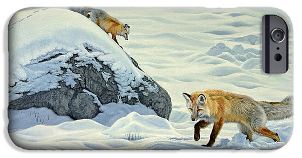 Yellowstone Park iPhone Cases - Something Under the Snow iPhone Case by Paul Krapf
