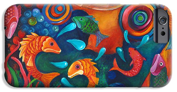 Animals Tapestries - Textiles iPhone Cases - Somethings Fishy iPhone Case by Debbie McCulley