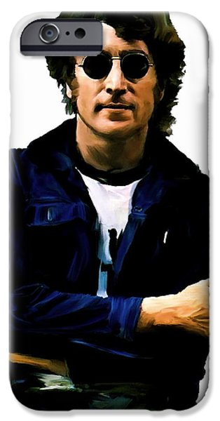 John Lennon Drawings iPhone Cases - Sometime In NYC III John Lennon iPhone Case by Iconic Images Art Gallery David Pucciarelli