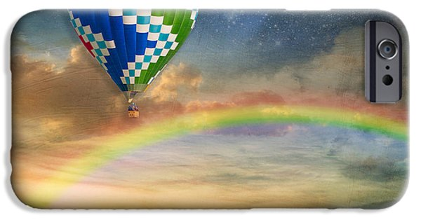 Hot Air Balloon iPhone Cases - Somewhere Over the Rainbow iPhone Case by Juli Scalzi