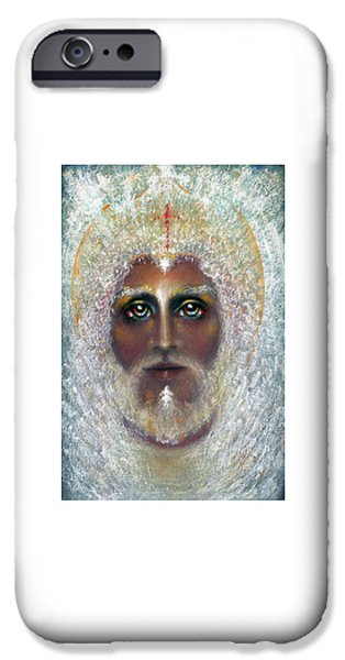 Angel Blues Pastels iPhone Cases - SON OF GOD  Pastel Eikons of Christ iPhone Case by Vicki Thomas