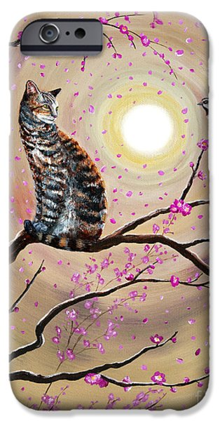 Cherry Blossoms iPhone Cases - Song of the Chickadee iPhone Case by Laura Iverson