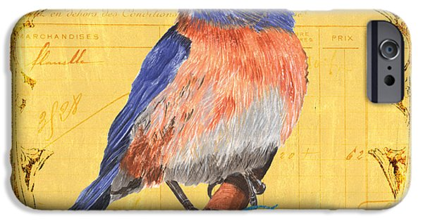 Flight Paintings iPhone Cases - Colorful Songbirds 1 iPhone Case by Debbie DeWitt