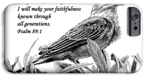 Janet King iPhone Cases - Songbird Drawing with Scripture iPhone Case by Janet King