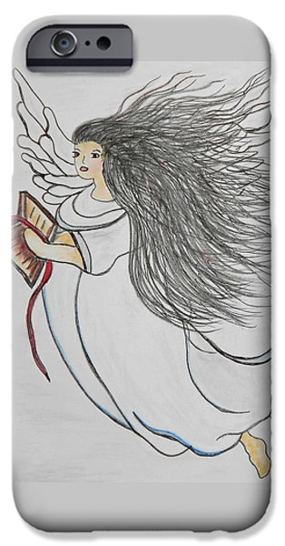 Religious Drawings iPhone Cases - Songs of Angels iPhone Case by Eloise Schneider