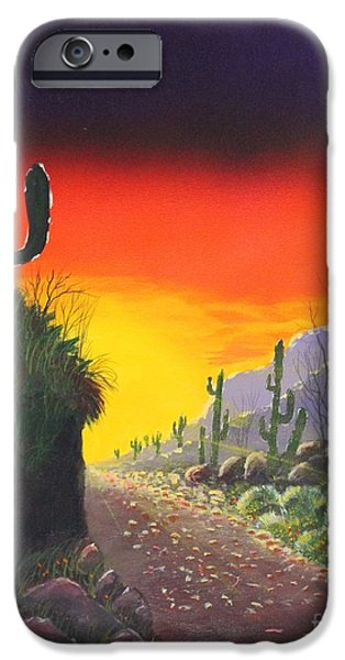 Airbrush Mixed Media iPhone Cases - Sonoran Sunrise iPhone Case by Bob Williams
