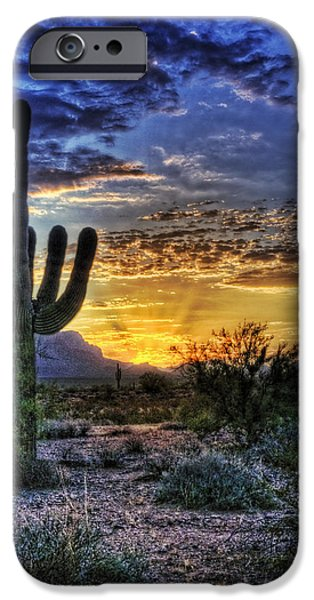 Clouds iPhone Cases - Sonoran Sunrise  iPhone Case by Saija  Lehtonen