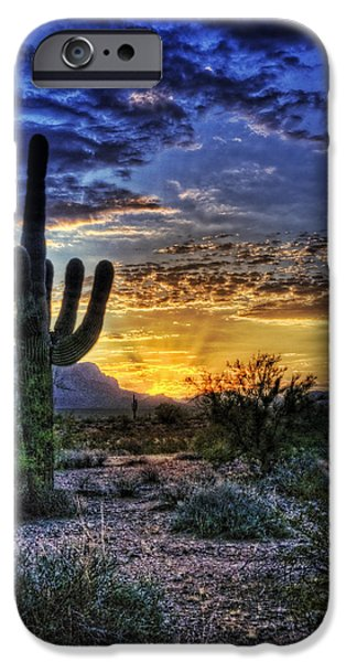 Skyscape iPhone Cases - Sonoran Sunrise  iPhone Case by Saija  Lehtonen