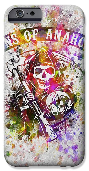 Bathroom iPhone Cases - Sons of Anarchy in Color iPhone Case by Aged Pixel