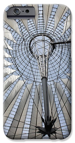 Built Structure iPhone Cases - Sony Center Looking Up iPhone Case by Joan Carroll