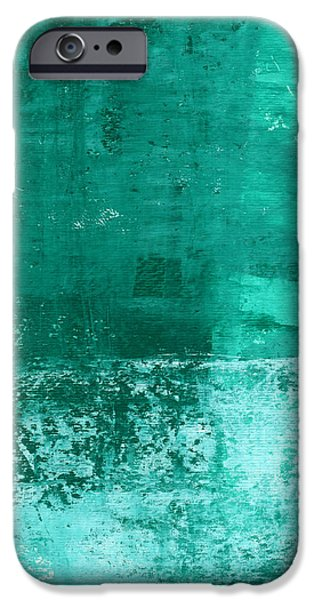 Wall Mixed Media iPhone Cases - Soothing Sea - Abstract painting iPhone Case by Linda Woods
