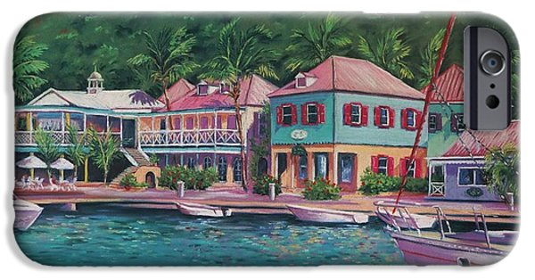 Building Pastels iPhone Cases - Sopers Hole Tortola  16x23 iPhone Case by John Clark