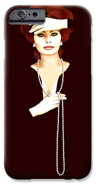 Prostitutes Paintings iPhone Cases - Sophia Loren 1 iPhone Case by Jann Paxton