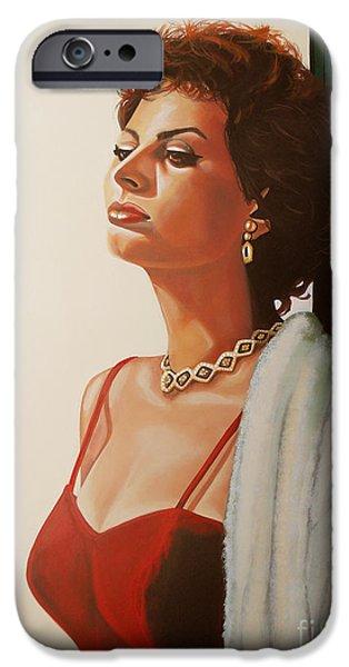 Style Paintings iPhone Cases - Sophia Loren 2  iPhone Case by Paul  Meijering