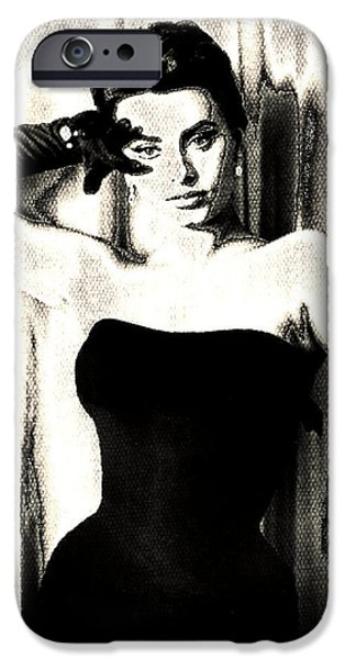 1950s Movies iPhone Cases - Sophia Loren - Black and White iPhone Case by Absinthe Art By Michelle LeAnn Scott