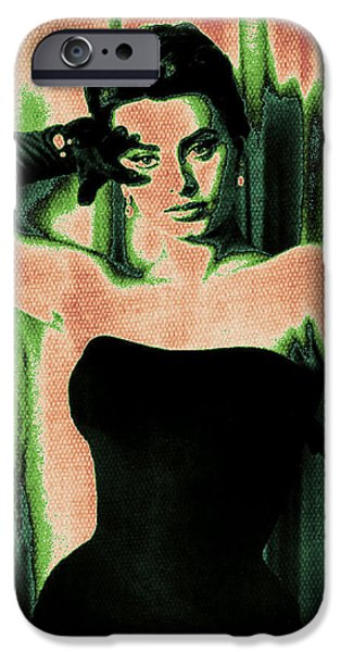 1950s Movies Digital iPhone Cases - Sophia Loren - Green Pop Art iPhone Case by Absinthe Art By Michelle LeAnn Scott