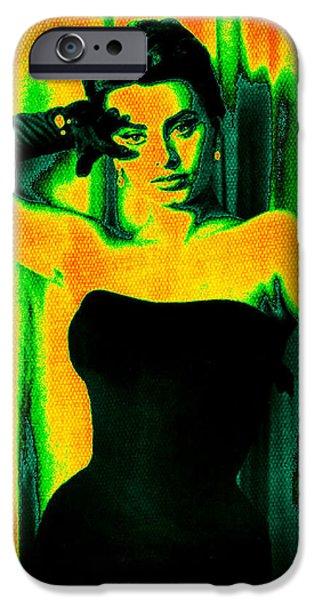 1950s Movies Digital iPhone Cases - Sophia Loren - Neon Pop Art iPhone Case by Absinthe Art By Michelle LeAnn Scott