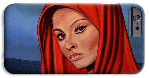 Style Paintings iPhone Cases - Sophia Loren iPhone Case by Paul  Meijering