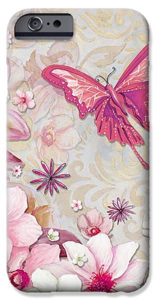 Sophisticated Elegant Whimsical Pink Butterfly Floral Flower Art Springs Joy by Megan Duncanson iPhone Case by Megan Duncanson