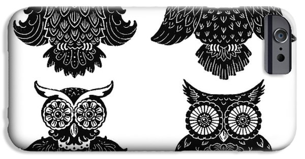 Kyle Wood iPhone Cases - Sophisticated Owls All 4 iPhone Case by Kyle Wood