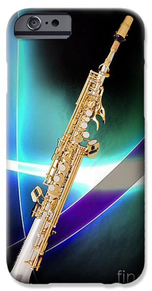 Soprano iPhone Cases - Soprano Saxophone Music Photograph in Color 3338.02 iPhone Case by M K  Miller