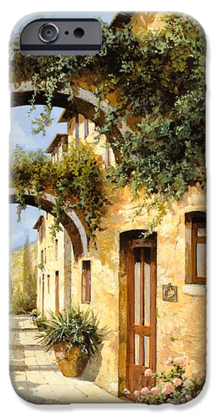 Window Paintings iPhone Cases - Sotto Gli Archi iPhone Case by Guido Borelli