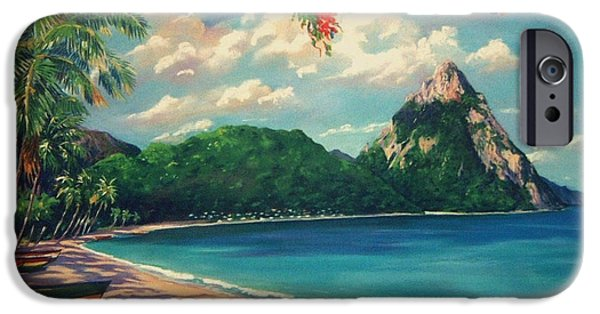 Santa Pastels iPhone Cases - Soufriere Bay   St. Lucia iPhone Case by John Clark