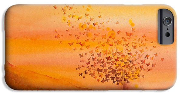 Autumn Trees iPhone Cases - Soul Freedom Watercolor Painting iPhone Case by Michelle Wiarda