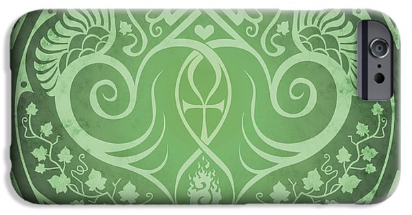 Celtic Knotwork iPhone Cases - Soul Mates - Green iPhone Case by Cristina McAllister