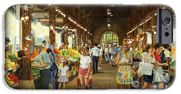 Fresh Produce iPhone Cases - Soulard Market Girl Pulling Wagon iPhone Case by Don  Langeneckert