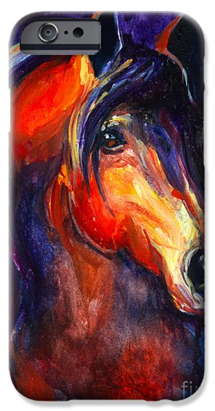 Framed iPhone Cases - Soulful Horse painting iPhone Case by Svetlana Novikova