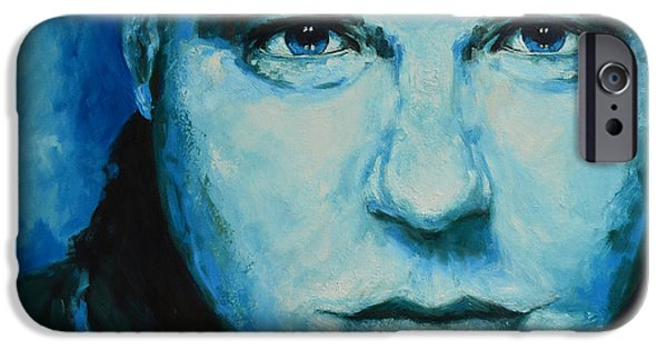 Artistic Portraiture iPhone Cases - Soulful Portrait Under Blue Light iPhone Case by Patricia Awapara