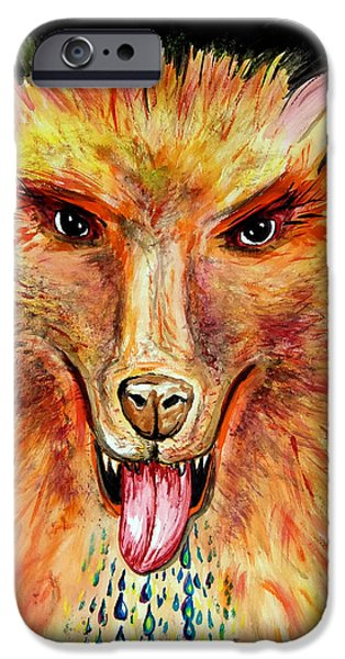 Dog Close-up Paintings iPhone Cases - SoundHound iPhone Case by Daniel Janda