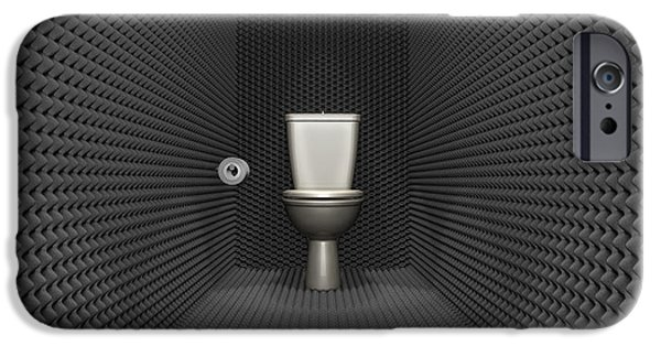 Cubicle iPhone Cases - Soundproof Toilet Cubicle iPhone Case by Allan Swart
