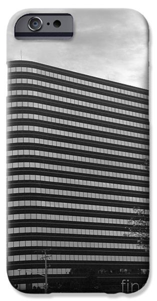 Architectur iPhone Cases - Soutfield Round Hi Rise Black and White iPhone Case by Bill Woodstock