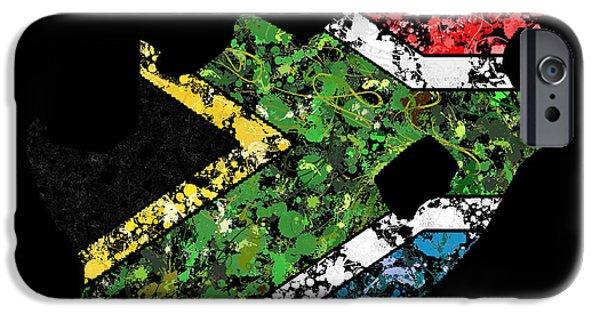 Patriots iPhone Cases - South Africa Map Flag iPhone Case by Marion De Lauzun