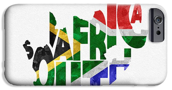 Abstract Map Digital Art iPhone Cases - South Africa Typographic Map Flag iPhone Case by Ayse Deniz