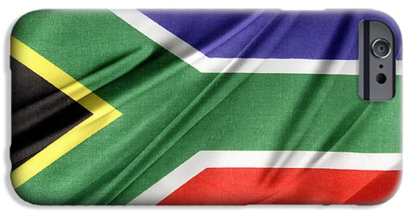 Textile Photographs iPhone Cases - South African flag  iPhone Case by Les Cunliffe