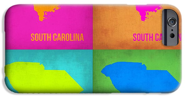 World Map Poster Digital Art iPhone Cases - South Carolina Pop Art Map 1 iPhone Case by Naxart Studio