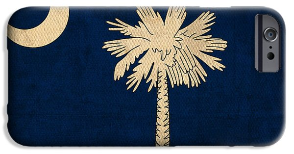 States iPhone Cases - South Carolina State Flag Art on Worn Canvas iPhone Case by Design Turnpike