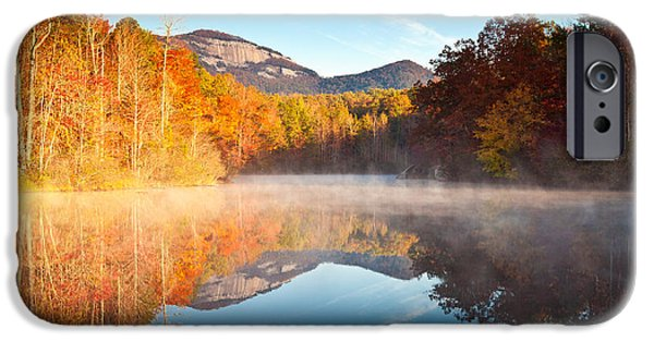 Leaf Change iPhone Cases - South Carolina Table Rock State Park Autumn Sunrise - Balance iPhone Case by Dave Allen