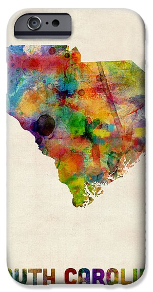 United States iPhone Cases - South Carolina Watercolor Map iPhone Case by Michael Tompsett