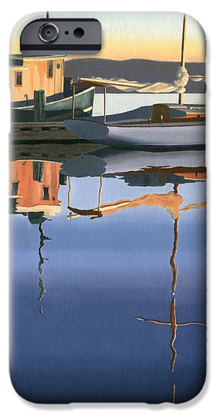 Sailboat Paintings iPhone Cases - South harbour reflections iPhone Case by Gary Giacomelli