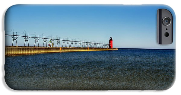 Lighthouse iPhone Cases - South Haven Pier Head Light iPhone Case by Mountain Dreams