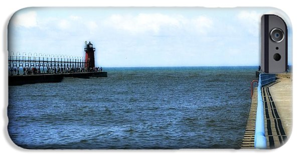 Michelle iPhone Cases - South Haven South Pierhead Light iPhone Case by Michelle Calkins
