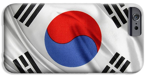 Flag Colors iPhone Cases - South Korean flag iPhone Case by Les Cunliffe