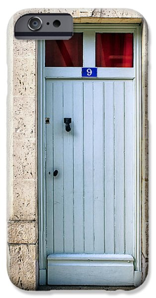 South West France iPhone Cases - South of France pale blue door iPhone Case by Nomad Art And  Design