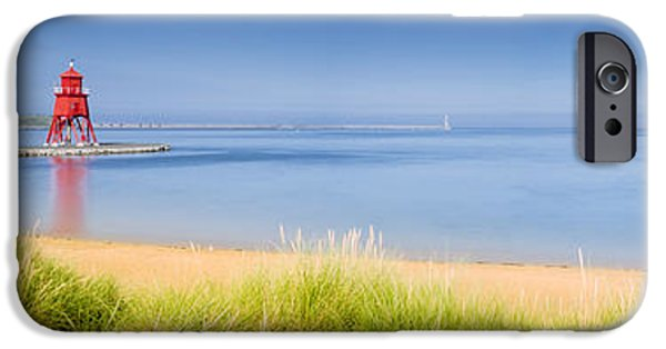 Sand Castles iPhone Cases - South Shields Beach Panorama iPhone Case by David Head